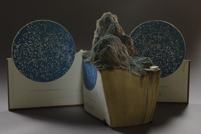 Beautiful art carved out of books