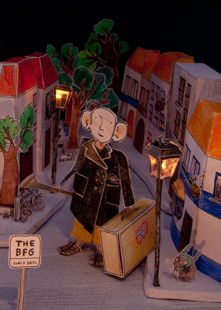 Designed by Inge Lavrijsen. This take on Dahl's children's book was built entirely in a cardboard box, with a keen eye for the whimsical fantasy that characterizes The BFG and his other works.