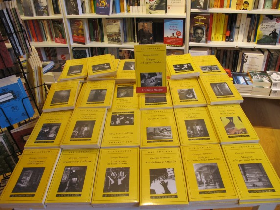 Adelphi Edizioni, a well-respected book publisher based in Milan, was represented with a large display of books by Georges Simenon.