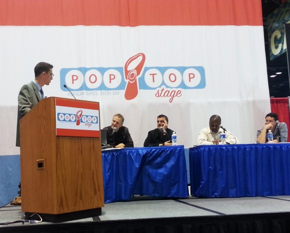 "Wolf Haas, author of Brenner and God and The Bone Man participated in the ""International Crime from Independent Publishers"" panel at the Pop Top stage on Saturday. The panel also featured (from left to right) moderator Keir Graff of Booklist Online, Haas, Grove author Mark Billingham, Akashic author Bayo Ojikutu, and Europa's Zane Lovitt."