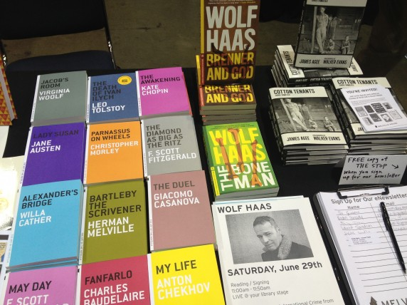 The Melville House display featured novellas, Wolf Haas books, and James Agee's Cotton Tenants.