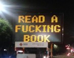 "Hackers made an LA traffic sign say ""READ A FUCKING BOOK"""