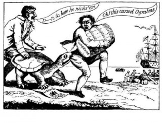 This is a cartoon about The Embargo of 1807. I don't get it. And I don't care to get it. (via Wikimedia)