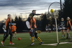 A Quidditch game in action
