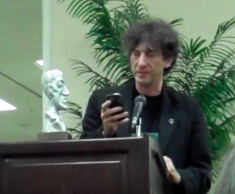 Neil Gaiman accepting his 2011 World Fantasy Award. (via Youtube)