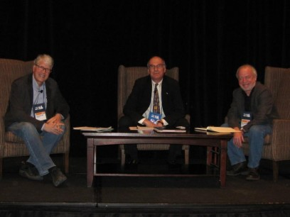 "Authors Doug Preston (left) and Richard Russo (right) appeared with ABA head Oren Teicher at the Winter Institute conference for a discussion on Amazon entitled, ""United for a Fair Marketplace"""