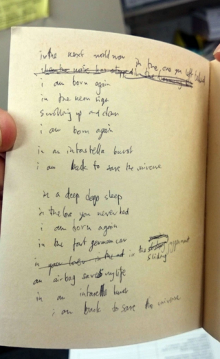 "Thom Yorke's handwritten lyrics to ""Airbag,"" via Metro.co.uk"