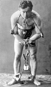 Harry Houdini, seen here protesting rampant superstition and fraudulent spiritualists