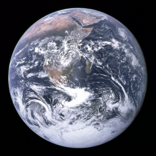 """The Blue Marble"" photograph of Earth, taken during the Apollo 17 lunar mission in 1972 (via Wikipedia)"