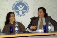 Gui Minghai, right, with his friend Bei Ling at the 2009 Frankfurt Book Fair. Via the New York Times.