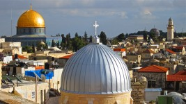 Holy sites of several religions in the Old City of Jerusalem.