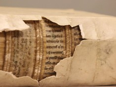 An example of a print book bound with manuscript pages from Leiden University. Via Smithsonian.com.