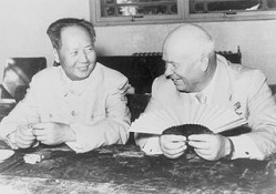Epoch-making frenemies Nikita Khrushchev and Mao Zedong. Via Wikipedia.