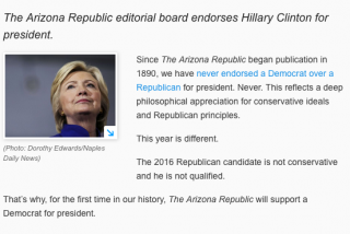 The Arizona Republic's decision to endorse Hillary Clinton for President has led to some vile reactions.