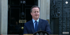 David Cameron announcing his resignation as Prime Minister. Image via BBC News/You Tube