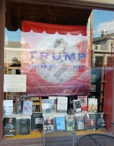The window display at Inquiring Minds Bookstore in Saugerties, NY.