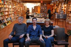 Henry Zook, Zack Zook, and Mary Gennett, in the expanded BookCourt. Photo by Joshua Kristal. Via the South Brooklyn Post.