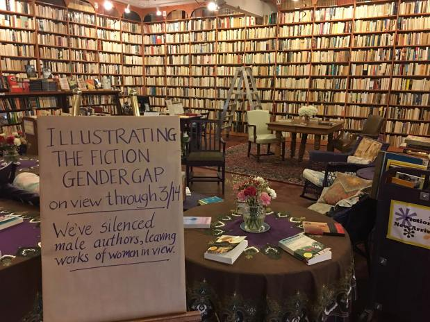 Women's History Month bookstore display turns around spines on male-authored books; online commentators lose spines entirely