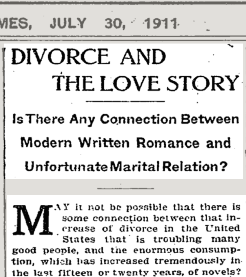 """1911 NYT nugget suggests fiction-divorce connection; """"rose-color books"""" cited"""